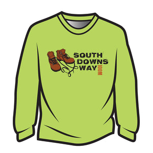 Lime South Downs Way Design 2 Long Sleeve T-Shirt