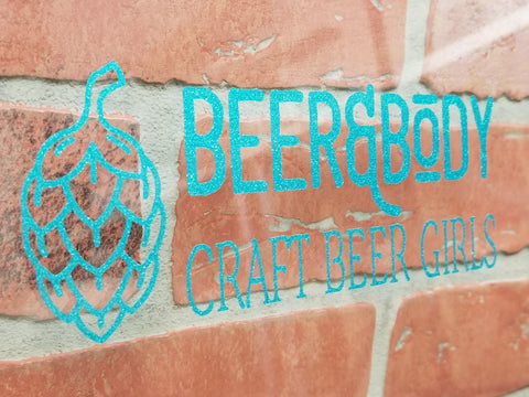 7 Inch Beer & Body Craft Beer Girls Glitter Decal
