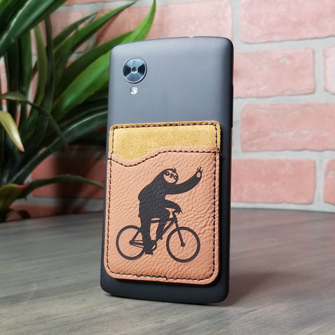 Bicycle Sloth Vegan Leather Cell Phone Wallet
