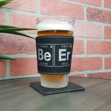 Elemental Beer Leather Laser Engraved Pint Glass Sleeve