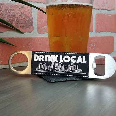 Drink Local Houston Vegan Leather Bar Bottle Cap Opener