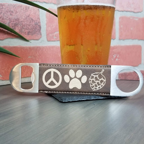 Peace, Paws, Hops Vegan Leather Bar Bottle Cap Opener
