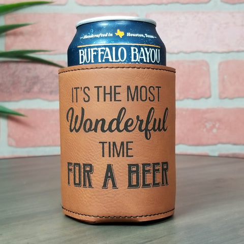 It's The Most Wonderful Time Of The Year Leather Insulated Beverage Sleeve Cozie