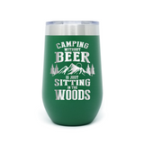 Camping Without Beer 16oz Powder Coated Insulated Stemless Tumbler