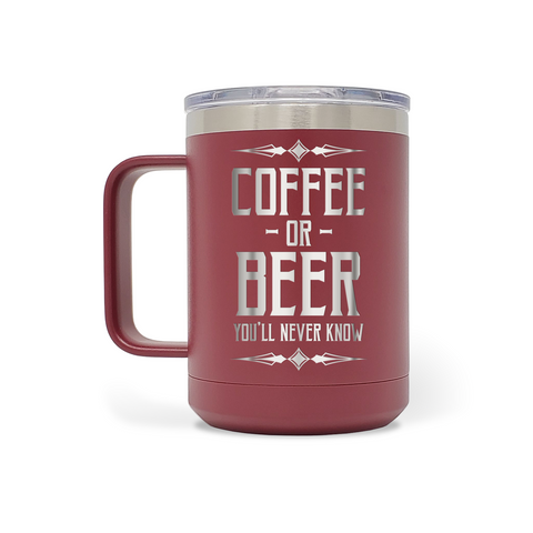 Beer & Body Craft Beer Girls - Coffee Or Beer You'll Never Know 15oz Insulated Stainless Steel Mug