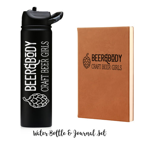 Beer & Body Water Bottle and Journal Combo Set