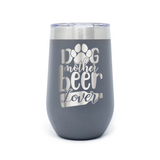 Dog Mother Beer Lover 16oz Powder Coated Insulated Stemless Tumbler