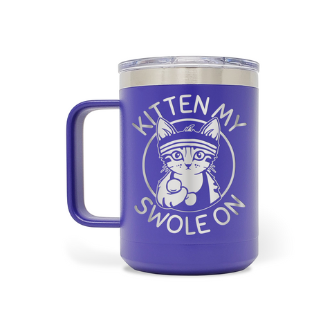 Kitten My Swole On 15oz Insulated Stainless Steel Mug