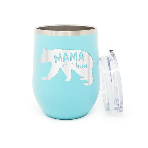 MaMa Bear 12 oz. Powder Coated Insulated Stemless Tumbler