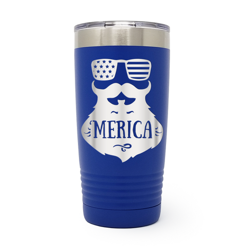 Merica Beard 20oz Laser Engraved Insulated Tumbler Cup
