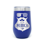 Merica Beard 16oz Powder Coated Insulated Stemless Tumbler