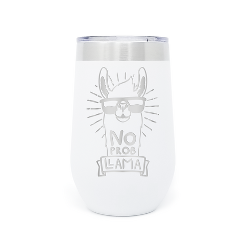 No Prob Llama 16oz Powder Coated Insulated Stemless Tumbler