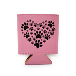 Paw Print Heart Leather Insulated Beverage Sleeve Cozie