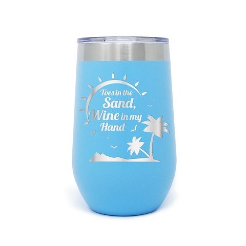 Toes In The Sand Wine in my Hand 16oz Powder Coated Insulated Stemless Tumbler