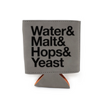 Water Malt Hops Yeast Leather Insulated Beverage Sleeve Cozie