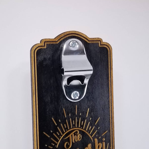 "Customized/Monogram Wall-Mount Bottle Cap Opener (Wood and Stainless Steel - 17"" x 6"")"
