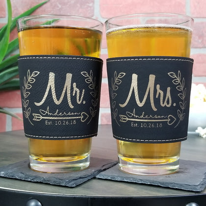 Mr. & Mrs. customized Leather Laser Engraved Pint Glass Sleeve Wedding Anniversary set-SLEEVES ONLY
