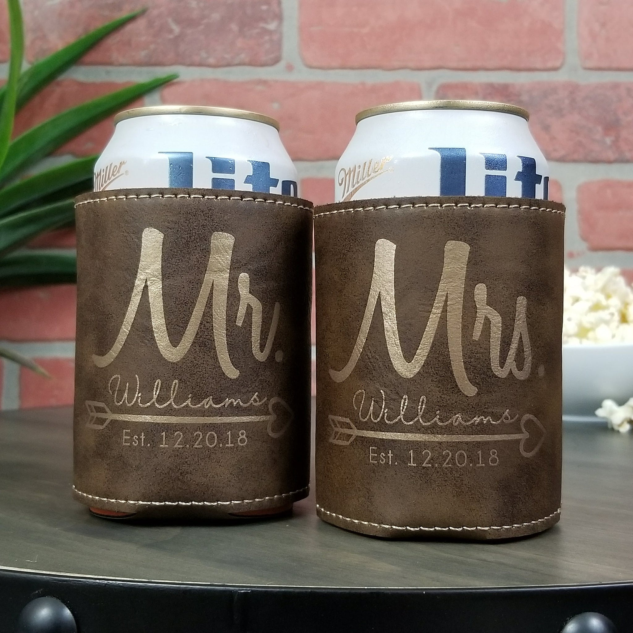 Customized Mr. and Mrs. Leather insulated beverage sleeve cozie wedding, anniversary