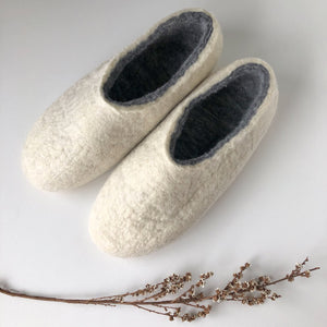 Thick Ladies Slippers - White/grey
