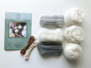DIY Felted Bauble Kit - Silver/Grey