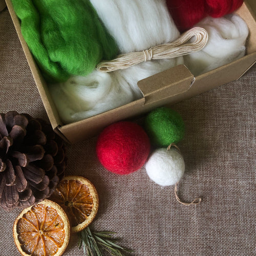 DIY Felted Bauble Kit - Christmas Colours
