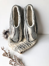 Thick Ladies Slippers - Grey Stripes
