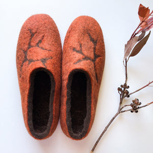 Thick Ladies Slippers - Burnt Orange