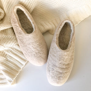 Thick Ladies Slippers - Cream