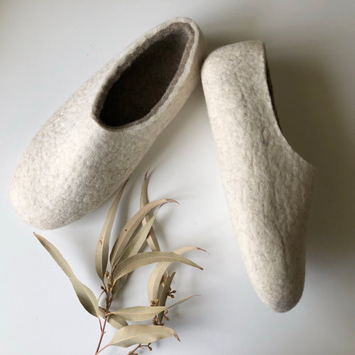 Thick Ladies Slippers - White Marble SALE
