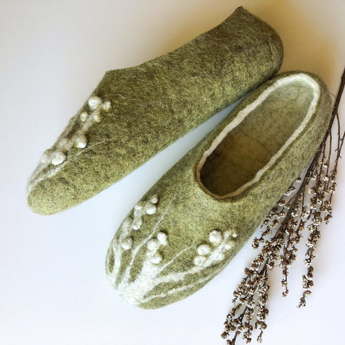 Thin Ladies Slippers - Olive