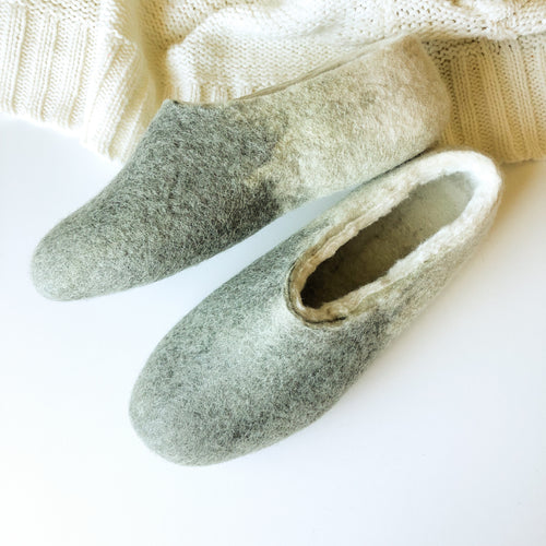 Thick Ladies Slippers - Green Grey