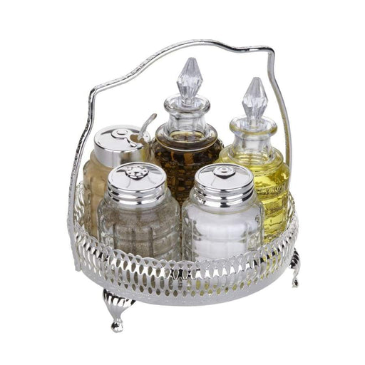 Queen Anne Silver Plated 6 pcs Spice Set with Handle (Tray+2 Oil Glass Bottles,Salt,Pepper,Mustard ) - 0-4719