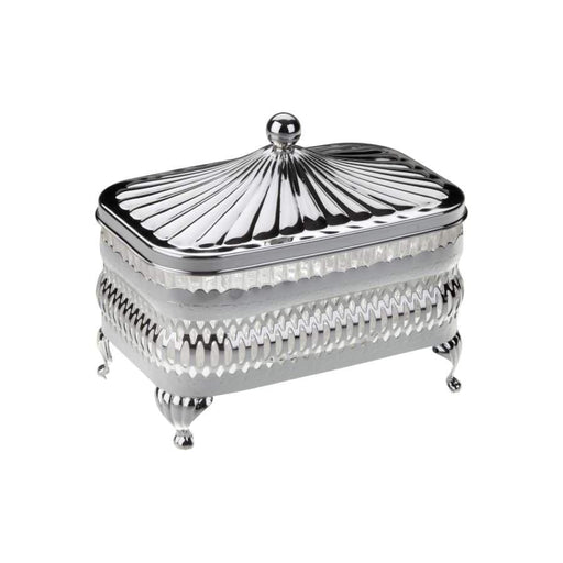 Queen Anne Silver Plated Rectangle Appetizer Serving Dish Single (Lid + Glass Dish) - 0-4904