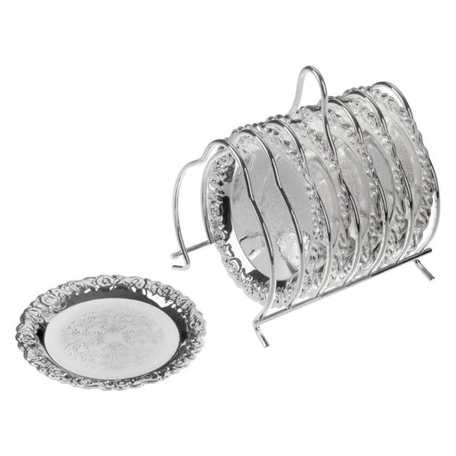 Queen Anne Silver Plated 6 Pieces Coaster Set + Rack - 0-5896-2