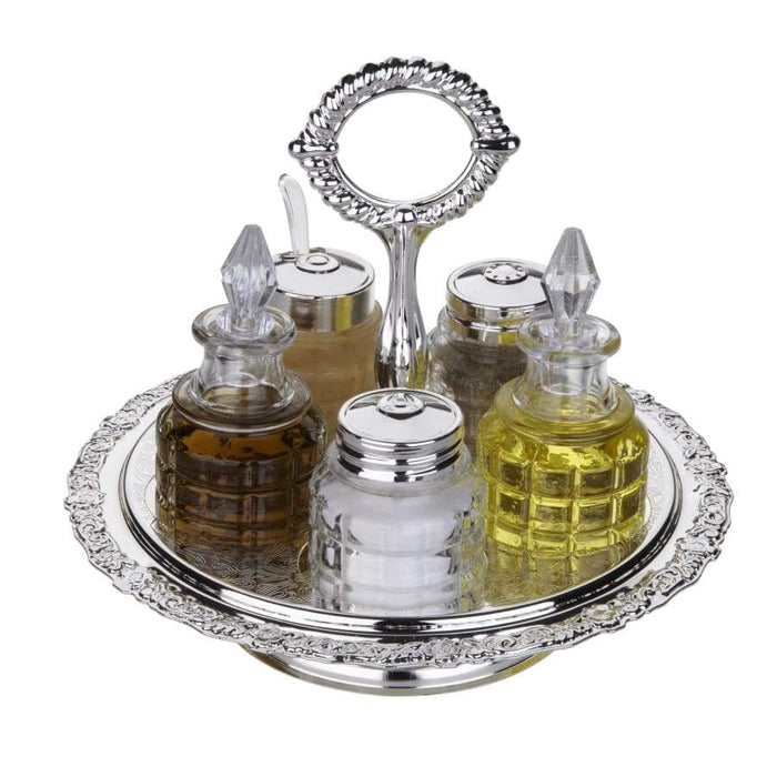 Queen Anne Silver Plated 6 pcs Spice Set with Handle (Tray+2 oil Glass Bottles,Salt, Pepper,Mustard ) - 0-5956-2