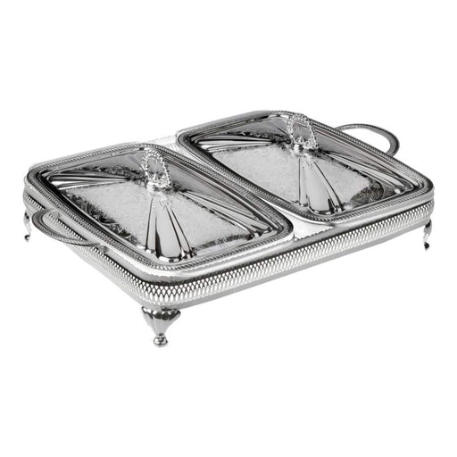 Queen Anne Silver Plated Rectangle Serving Dish Large Double (2 Lid +  2 Oven Dish) - 0-6307