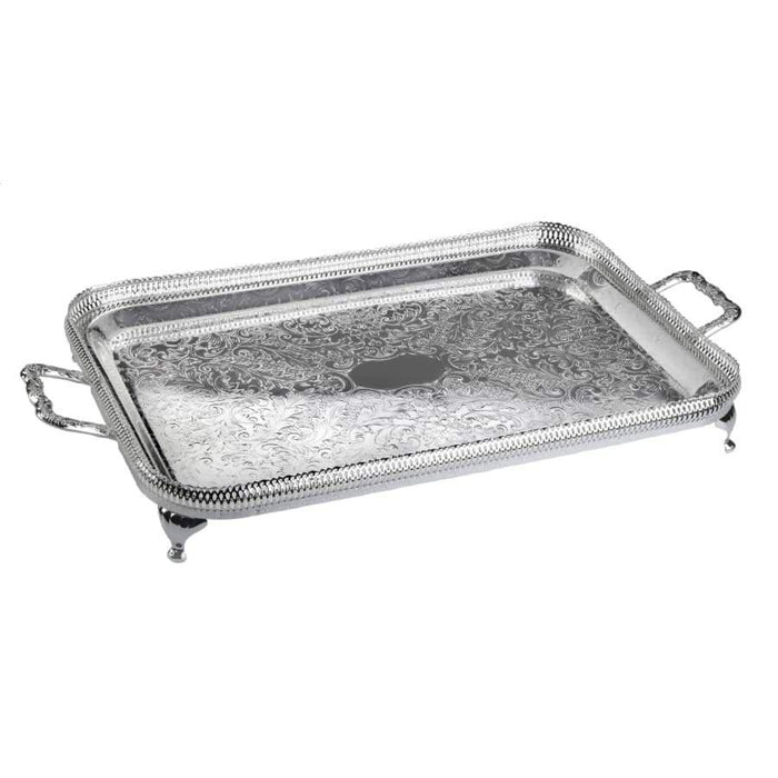 Queen Anne Silver Plated Small Rectangle Tray with handles (43 x 24 cm) - 0-6337