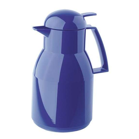 Helios Top Push Vacuum Jug with Button 1L Blue - 2724-008