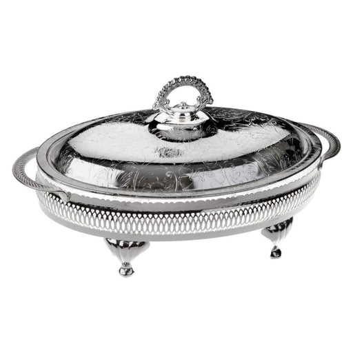 Queen Anne Silver Plated Oval Glass Appetizer Dish with 4 Divisions with Lid - 60-6205