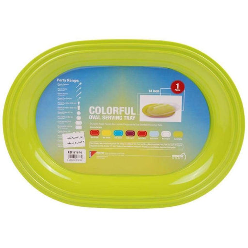 Mintra Plastic Oval Serving Tray (40x29 cm) Green - 97676