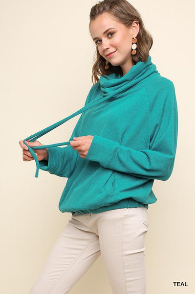 Long Sleeve Cowl Neck Knit Top-Casual Tops-Umgee-Small-Teal-Purple Plum Boutique