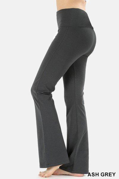Slim Fit Cotton Yoga Pants with Flared Bottom-Leggings-AAAAA Fashion-Small-Ash Grey-Purple Plum Boutique