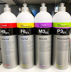 Koch Chemie Polishing Compounds Set H9.01 Heavy Cut, F6.01 Fine Cut, M3.02 Micro Cut, P3.01 Micro Cut & Finish.