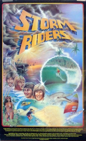 Storm Riders. 1982.  Hoole-McCoy's classic Australian surf film. Artwork by Jim Davidson. Poster is in good overall condition. Minor creases along edges only.  530mm x 610mm