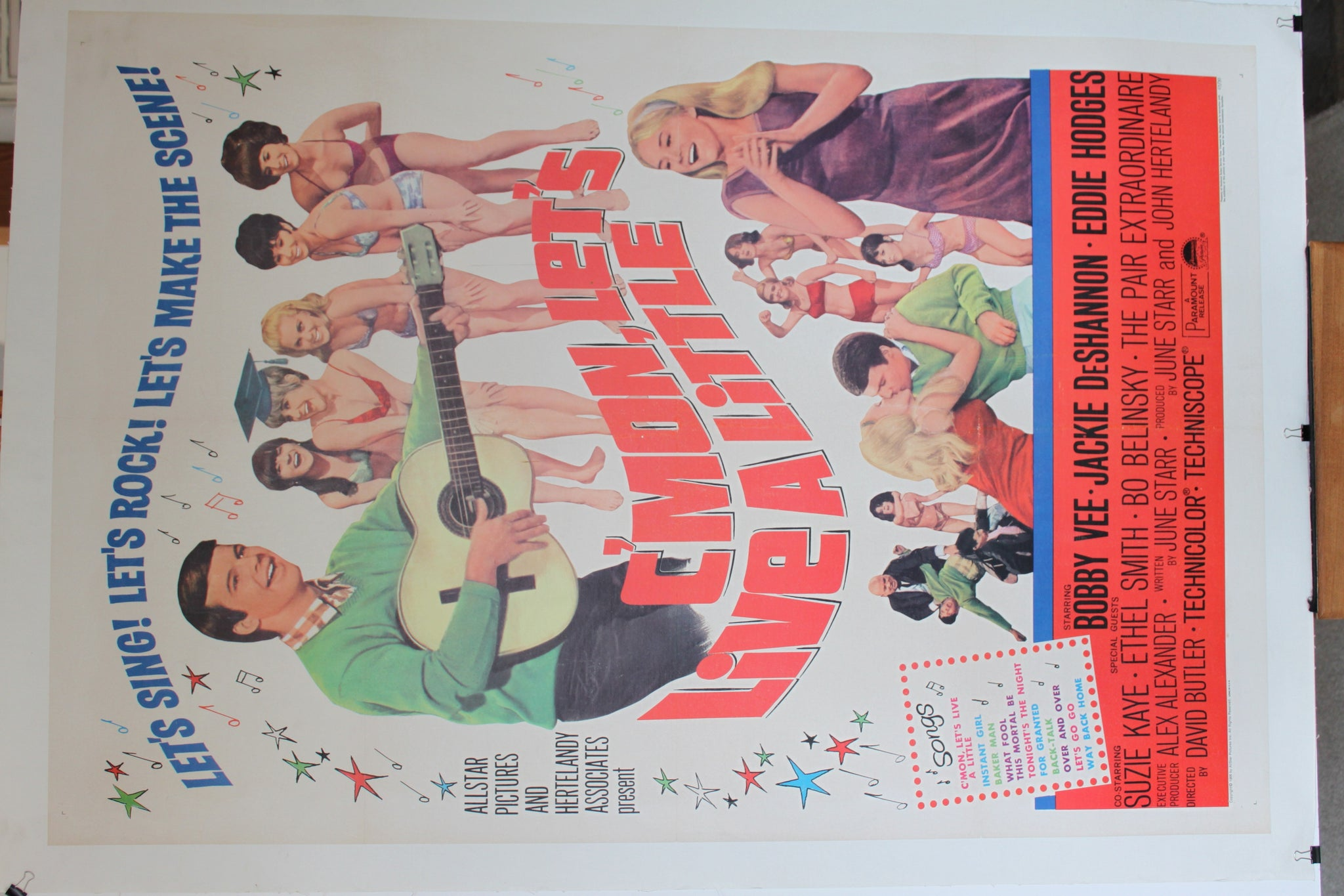 C'Mon Lets Live a Little. Linen Backed Poster. 1967.