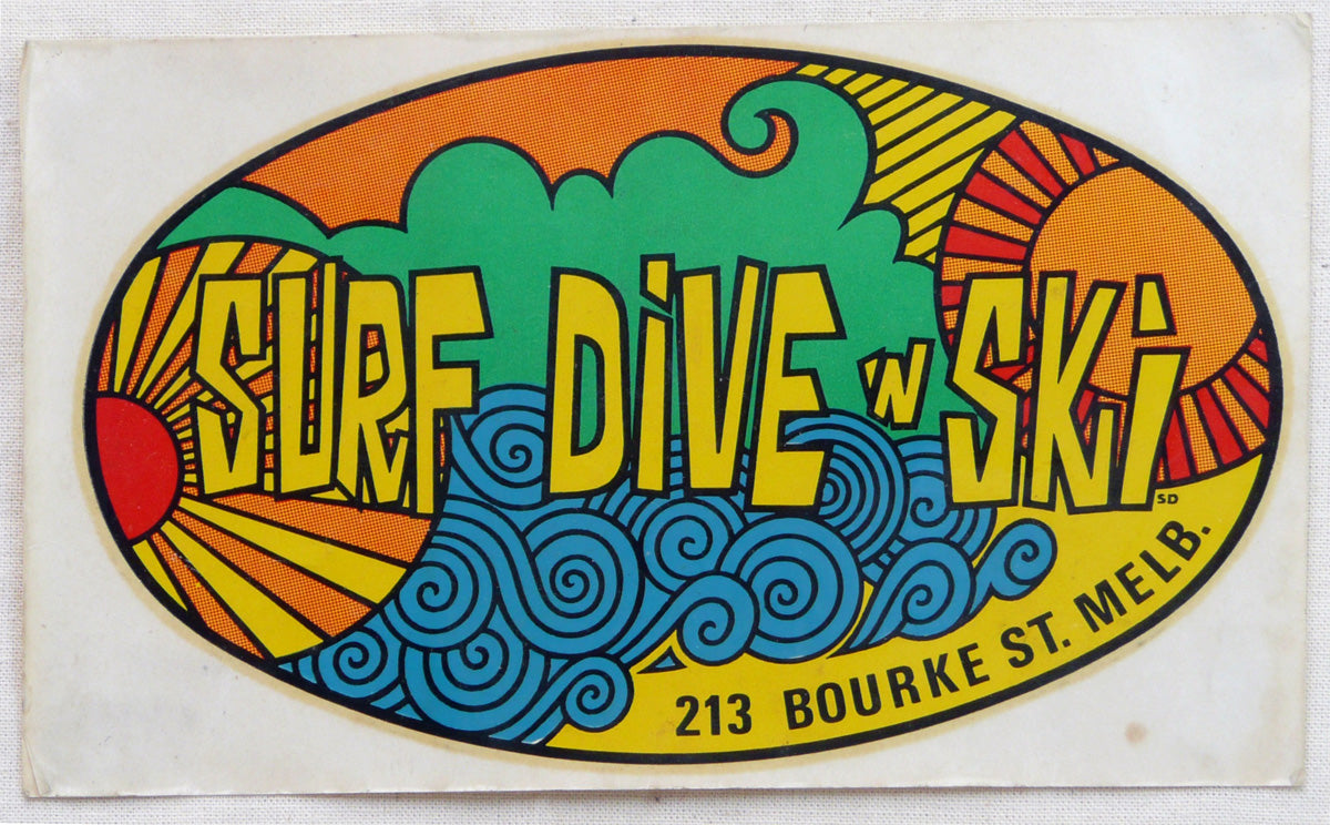 Surf Dive and Ski Decal. c1968.