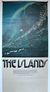 The Islands. 1972  Little known film by Tommy Taylor and Paul Witzig. An unusal variant that mimics the small Evolution poster in size, design and color scheme.  All original. Rare small format in good condition.  210mm x 385mm.