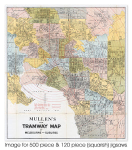 Mullens Tramway Map of Melbourne, circa 1909