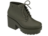 Melissa Women's dark green jelly platform boot