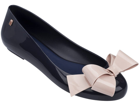 Melissa Women's black jelly flats with pink bow